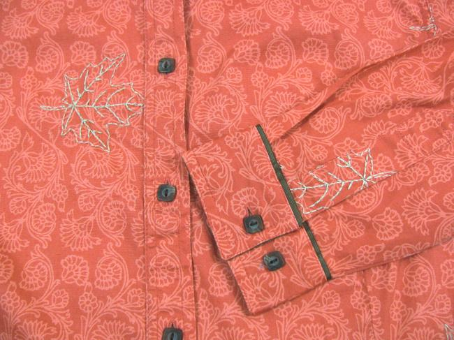 Columbia Sportswear Company Floral Long Sleeve Buttoned New Shirt Coral Cotton Peach S Maple Leaf Print 6 Button Down Shirt pink Image 3
