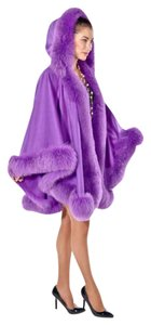 madisonavemall Real Fur Cashmere Real Fox Fox Trimcape Hooded Cashmere Cape
