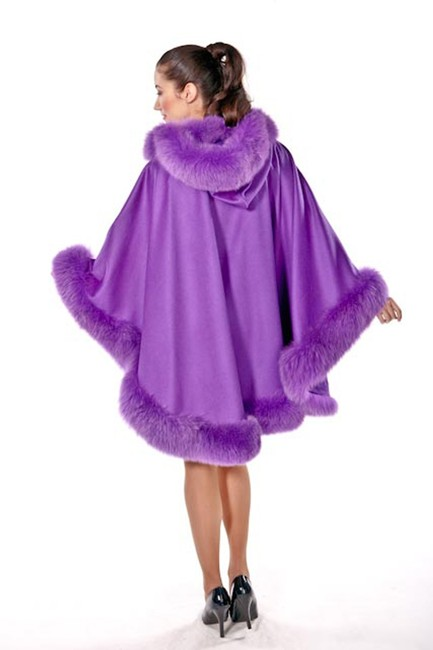 madisonavemall Real Fur Cashmere Real Fox Fox Trimcape Hooded Cashmere Cape Image 1