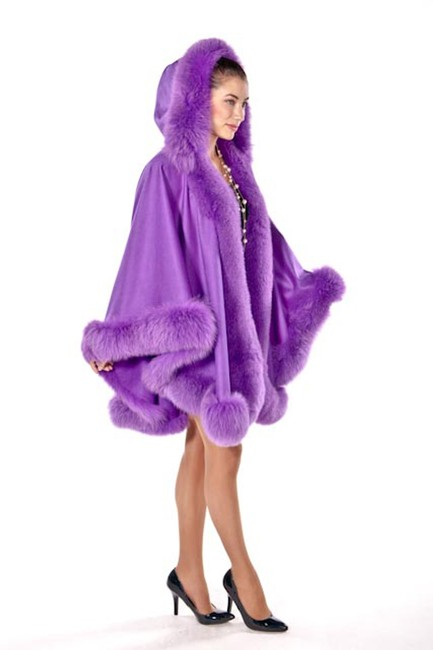 madisonavemall Real Fur Cashmere Real Fox Fox Trimcape Hooded Cashmere Cape Image 2