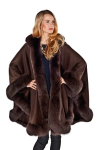 madisonavemall Real Fur Cashmere Hooded Womens Cape