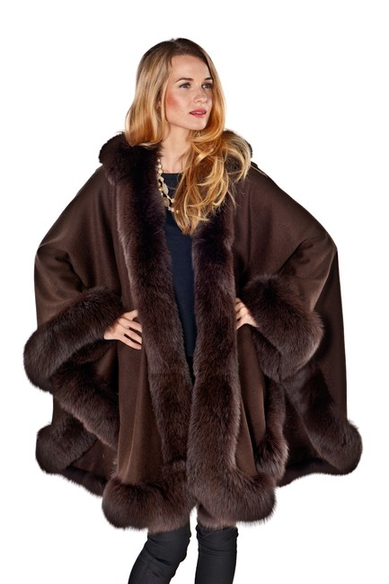 madisonavemall Real Fur Cashmere Hooded Womens Cape Image 0