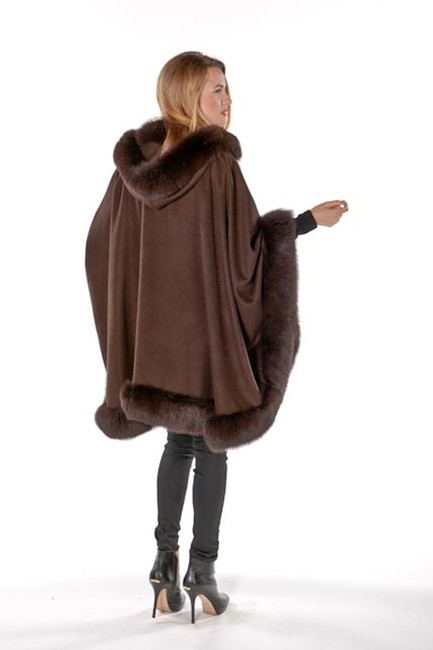 madisonavemall Real Fur Cashmere Hooded Womens Cape Image 1