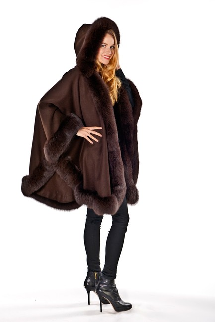 madisonavemall Real Fur Cashmere Hooded Womens Cape Image 2