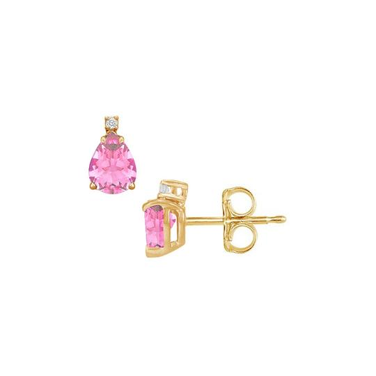 Marco B Teardrop Pink Sapphire CZ Stud Earrings Gold Vermeil Image 0