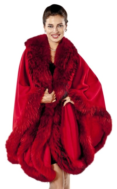 Item - Red Finn Raccoon Fur Trimmed Cashmere Poncho/Cape Size OS (one size)