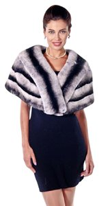 madisonavemall Real Fur Womens Chinchillette Stole Cape