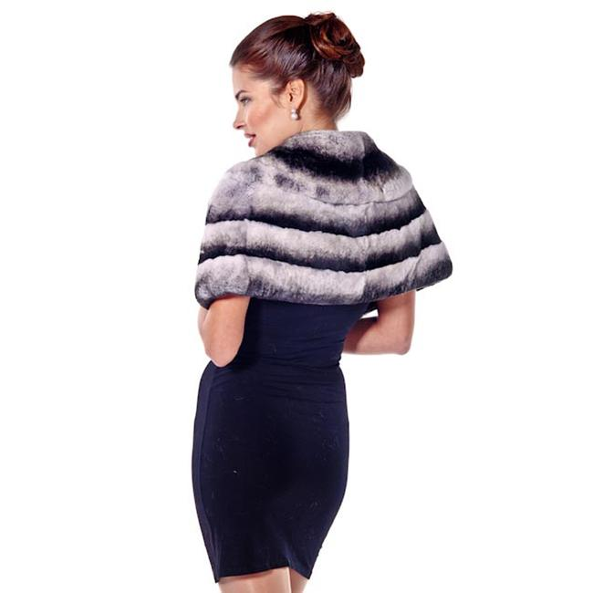 madisonavemall Real Fur Womens Chinchillette Stole Cape Image 1