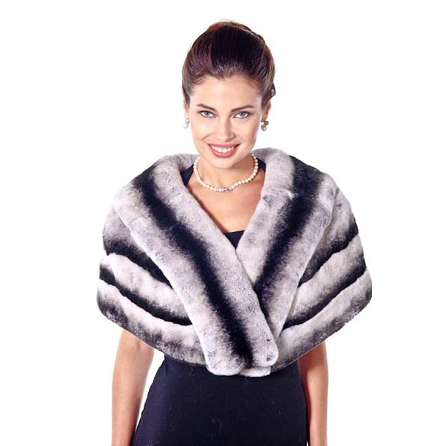 madisonavemall Real Fur Womens Chinchillette Stole Cape Image 2