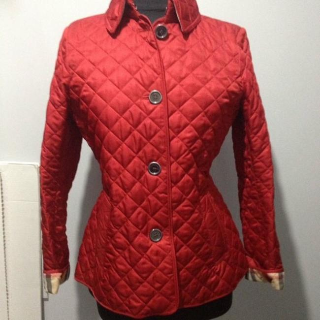 Burberry Red. Leather Jacket Image 4