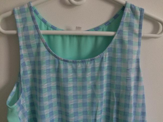 C Top turquise, white, purple/blue checkered Image 3