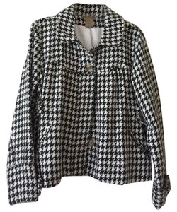 Art and Soul Houndstooth Cropped Black and White Blazer