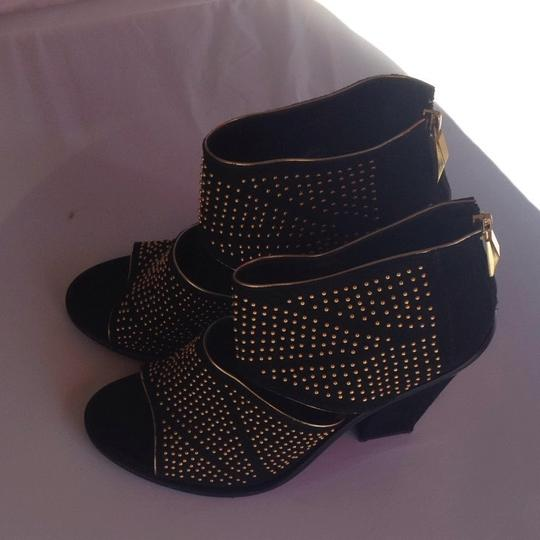 Dolce Vita Studded Suede Leather Black + Gold Sandals