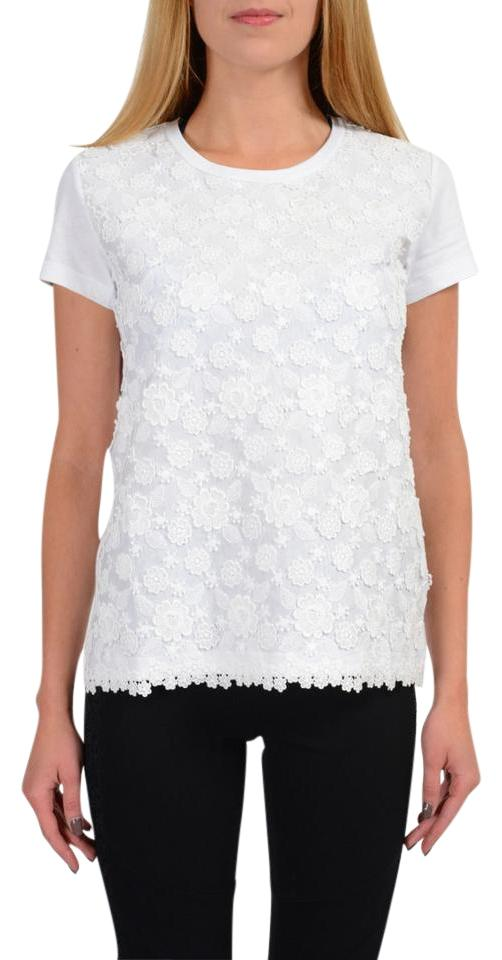 Moncler White Women s Lace Embroidered Crewneck T-shirt Tee Shirt ... 28cafe1e88