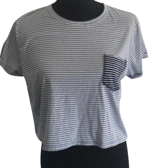 Item - Blue Striped Boxy Crop Tee Shirt Size 6 (S)