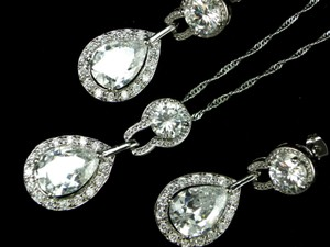 Bridal Set Necklace And Earrings Cubic Zirconia Teardrop Pendant Sparkly Vintage Bridesmaid Gift Wedding Jewelry Diamond