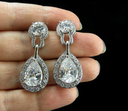 Clear Necklace and Earrings Cubic Zirconia Teardrop Pendant Sparkly Vintage Bridesmaid Gift Diamond Jewelry Set