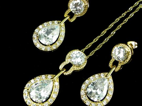 Clear Necklace and Earrings Cubic Zirconia Teardrop Pendant Sparkly Vintage Bridesmaid Gift Diamond Gold Plated Jewelry Set