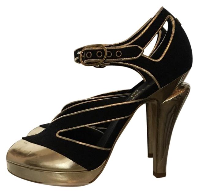 Item - Navy Canvas with Gold Leather St. Tropez Style Platforms Size US 6.5 Regular (M, B)