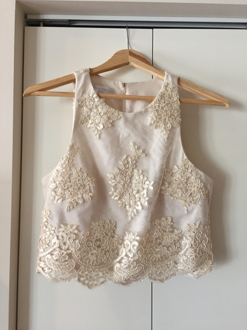 Item - Cream Polyester Lace Applique Bea Top Formal Bridesmaid/Mob Dress Size 4 (S)