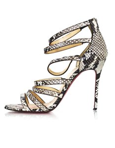 Christian Louboutin Python Exotic Strappy Heels black Sandals