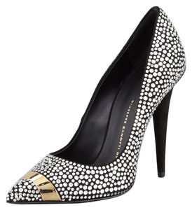 Giuseppe Zanotti Sexy Embellished Party Evening Black gold crystal Formal
