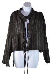 Marni Wool Striped Peplum Ribbon Tie Casual Jacket Cape