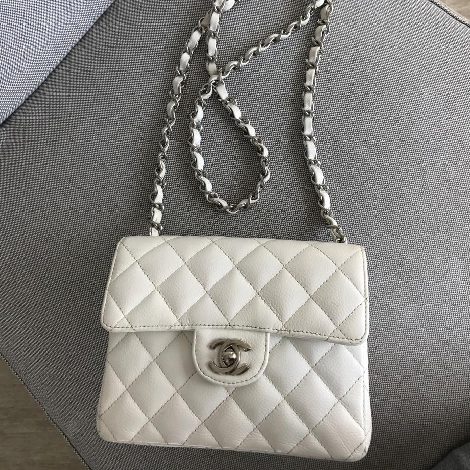 2e88ee963320 Chanel Vintage Square Mini Flap In Caviar Silver Hardware White Leather  Cross Body Bag