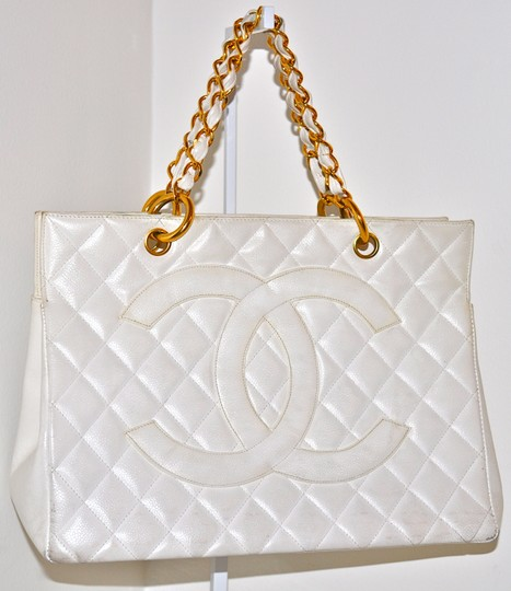 Chanel Quilted Caviar Leather Gst Grand Shopping Tote in White