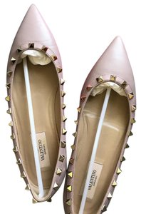 Valentino Mauve leather with gold embellishments Flats