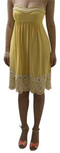 Shoshanna short dress Yellow with embroidered white detail Silk Strapless Mid-length Flirty on Tradesy