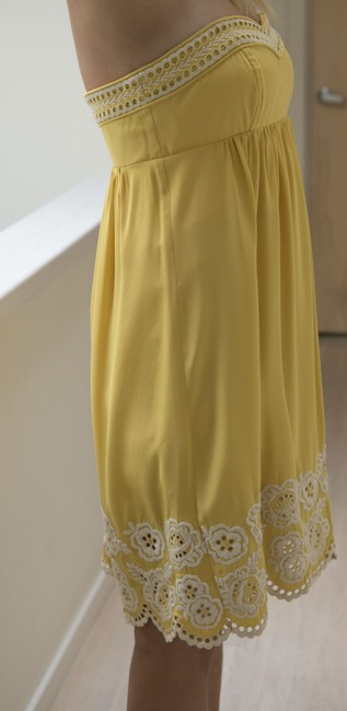 Shoshanna short dress Yellow with embroidered white detail Silk Strapless Mid-length Flirty on Tradesy Image 1