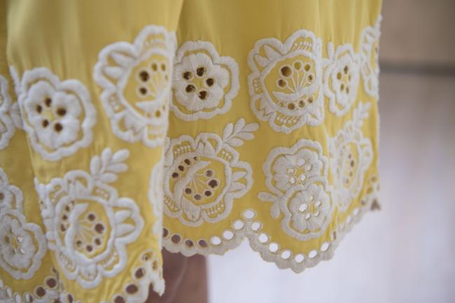 Shoshanna short dress Yellow with embroidered white detail Silk Strapless Mid-length Flirty on Tradesy Image 2