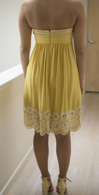 Shoshanna short dress Yellow with embroidered white detail Silk Strapless Mid-length Flirty on Tradesy Image 3