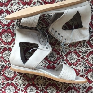 Free People Date Night Mini Distressed Bianco/Lt Grey Bianco Wedges