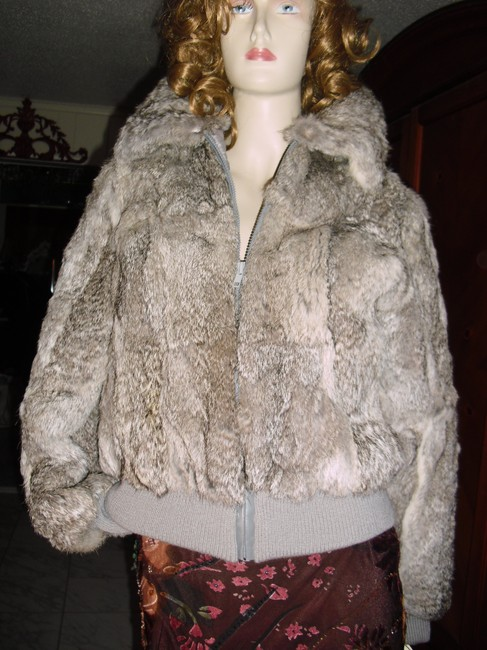 Genuine Rabbit Fur all shades of gray Jacket Image 1