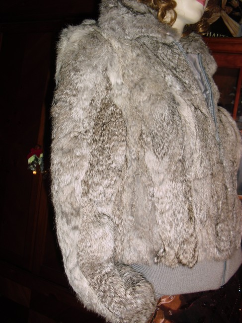 Genuine Rabbit Fur all shades of gray Jacket Image 2
