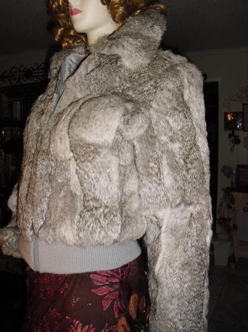 Genuine Rabbit Fur all shades of gray Jacket Image 3