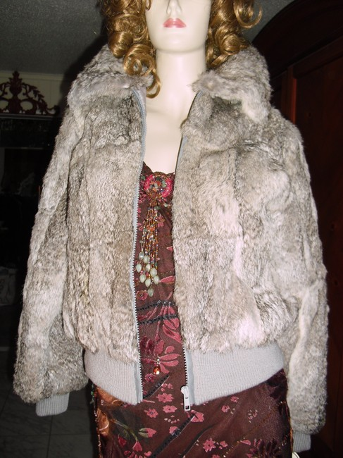 Genuine Rabbit Fur all shades of gray Jacket Image 4