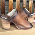 FreeBird By Steven Bambi Hand Distressed 8 Cognac Mules Image 1