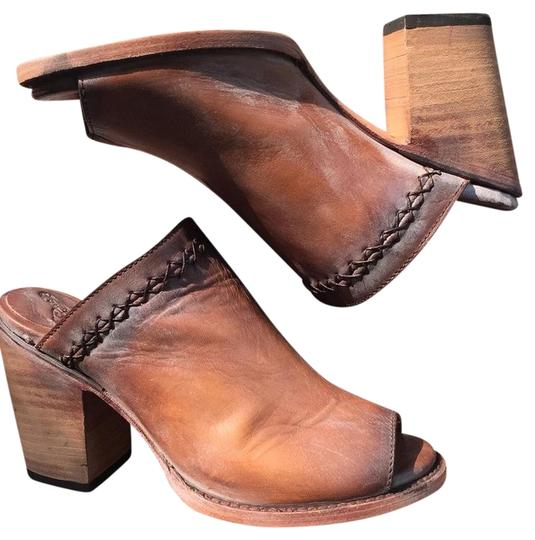 FreeBird By Steven Bambi Hand Distressed 8 Cognac Mules Image 10