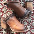 FreeBird By Steven Bambi Hand Distressed 8 Cognac Mules Image 3