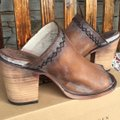 FreeBird By Steven Bambi Hand Distressed 8 Cognac Mules Image 4