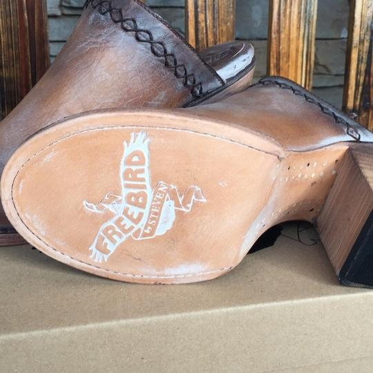 FreeBird By Steven Bambi Hand Distressed 8 Cognac Mules Image 6