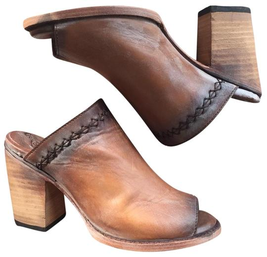 FreeBird By Steven Bambi Hand Distressed 8 Cognac Mules Image 9