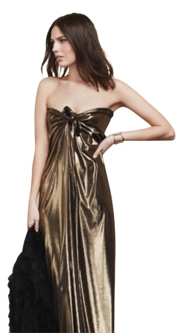Item - Gold Tina Lame Long Formal Dress Size 8 (M)