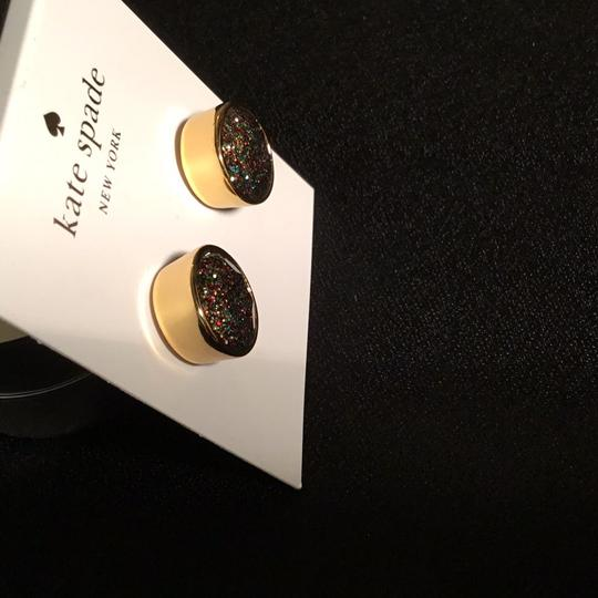Kate Spade Glitter Round Studs in Goldtone Setting Image 2