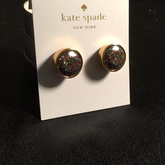 Kate Spade Glitter Round Studs in Goldtone Setting Image 5