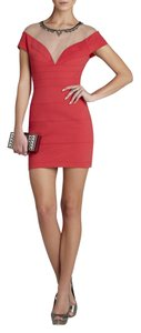 BCBGMAXAZRIA Piper Jeweled Embellished Illusion Dress