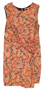 DKNY Floral Leaves Color-blocking Professional Sleeveless Dress